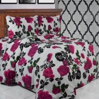 Sprei Dan Bedcover premium Katun Motif Riana Pink 160 x 200 x 25
