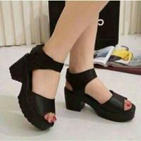 Jual sandal wedges docmart hitam sepatu sandal kado wanita bagus murah Murah