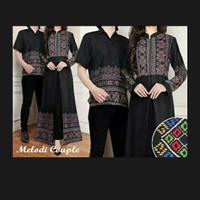 Couple Pasangan Baju Batik Long Maxi Dress Kemeja Hem Melody Black