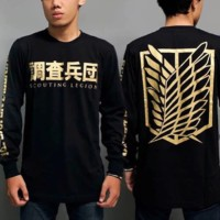 Kaos Lengan Panjang Anime Attack On Titan GOLD - Baju Long Sleeve SnK