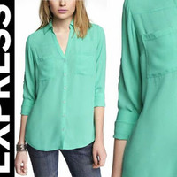 WOMENS GREEN PORTOFINO SHIRT EXPRESS BRANDED/KEMEJA EXPRESS BRANDED