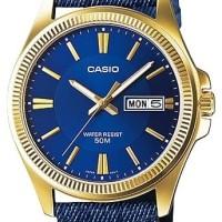 Jam tangan cowok analog warna biru dongker casio MTP-E111GBL-2AV WR50m