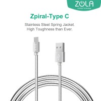 Kabel Data Type C ZOLA Zpiral 100cm Fast Charging 2.1A - Silver