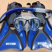 alat selam snorkling IST paket combo isi fin open heel ,mask ,snorkel