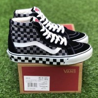 SEPATU SNEAKERS VANS SK8 HI CHECKERBOARD BLUE GREY ORIGINAL BNIB