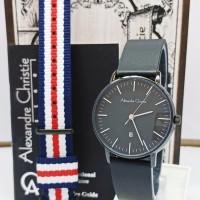 jam tangan alexandre christie AC 8420LD FREE TALI KANVAS FULL BLACK