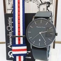jam tangan alexandre christie AC 8420MD FREE TALI KANVAS FULL BLACK