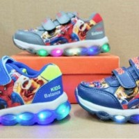 SEPATU ANAK SPIDERMAN SUPERHERO IMPORT MURAH LAMPU LED