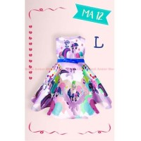 Dress My Little Pony Warna Ungu Gaun Pesta Anak Cewe Tali Pita Impor