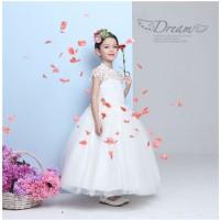 New BAP.091 gaun pesta anak putih berlengan pendek rok panjang