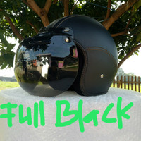helm kulit bogo retro dewasa full hitam