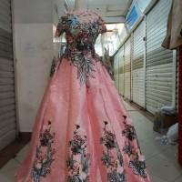 Guan Kebaya Pengantin pink kombinasi beludru payet