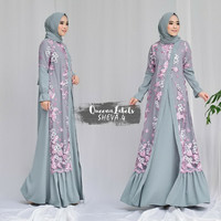 gamis pesta glamour long cardi brokat mix ity crepe