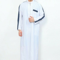 Baju Gamis Pria / Muslim /Jubah Al-Aqsa AL-ISRA PUTIH LIST HIJAU TUA