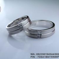 cincin kawin emas putih 18k AuAg  + platinum 90%