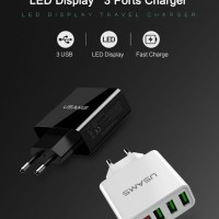 USAMS Charger USB 3 Port EU Plug dengan LED Display - Black