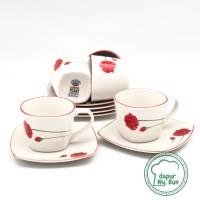 Cangkir Set Keramik Motif BUNGA / Cangkir Teh / Cangkir Kopi / Saucer
