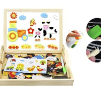 Mainan anak edukasi - puzzle magnet - magnetic board animals