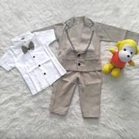 Baju Pesta Kondangan Anak Bayi Laki Jas Panjang Tuxedo Rompi Dasi Kupu