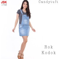 Playsuit Jeans Overall 1748 celana kodok wanita pendek basic biru muda