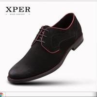 Harga original brand xper casual men dress shoes lace up sepatu hitam   antitipu.com