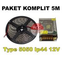 LED STRIP 5050 IP44 5M PLUS ADAPTOR/LAMPU PLAFON/LAMPU ETALASE