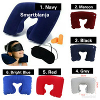Inflatable Travel Pillow Set Air Bantal Leher Penutup Mata Telinga