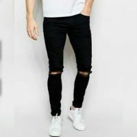 Ripped Jeans pria celana levis sobek black hitam keren distro murah