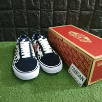 Sepatu VANS Old Skool Canvas Suede Checkerboard Japan Indigo Mirror