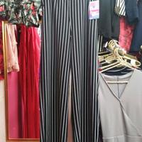 Celana panjang kulot salur hitam putih