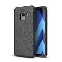 Leather Hard Soft Case Samsung A8+ Plus Casing HP Kulit Silikon Armor