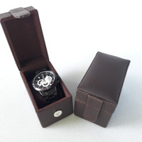 TEMPAT JAM TANGAN|KOTAK JAM|BOX ARLOJI FULL DARK BROWN ISI 1