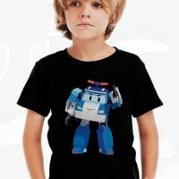 Kaos Baju Tshirt Anak Kartun Robocar Poli Karakter Hitam