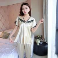 Piyama Wanita Baju Tidur 8021 Bajutidur Lengan Pendek Satin Murah HOT