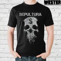 Kaos Band Metal - Sepultura Skull Tribal