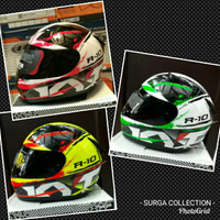 Helm KYT R10 Seri 2 Yellow Red Green Original