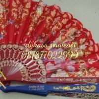 souvenir pernikahan / seminar kipas gliter + sablon + box