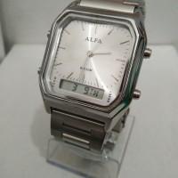 Jam Tangan Alfa Original stainless steel Dual Time