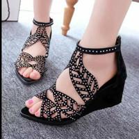 Harga sandal wedges daun pesta hitam wedges cantik murah wedges | Pembandingharga.com
