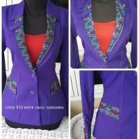 Setelan baju blazer/Blazer batik wanita warna ungu gandaria kode 910