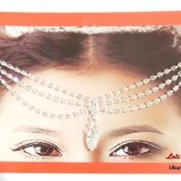Kalung Bindi India Hiasan Dahi Jilbab Jodha Headpiece Silver BD65