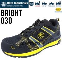 Bata Bright 030 Black Yellow Vibram Sepatu Safety Shoes Metal Free