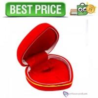 Kotak Set Perhiasan Sedang - Kotak Cincin Love - Merah