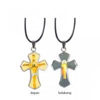 Kalung Salib Gambar Yesus 2 Sisi / Perhiasan / Aksesoris Baju