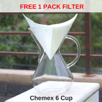 [FREE FILTER] Chemex Glass Handle 6 cup Brandless - Drip Coffee