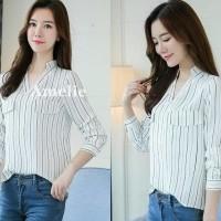 Baju Atasan Kerja Kemeja Putih Garis White Blouse Wanita Korea Import