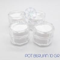 Pot / Jar Cream Kosmetik Acrylic 10gr Putih Diamond Berlian