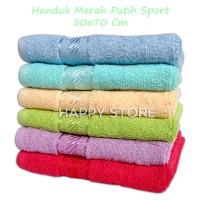 Handuk Muka Merk Merah Putih Polos 30 x 70 cm - Handuk Sport Olahraga