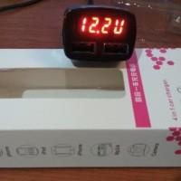 4 in 1 USB Car Charger, Ampere Meter, Voltmeter dan Suhu / Temperatur