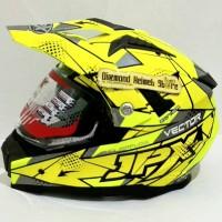 Helm Supermoto Fullface Duke X606 Vector Yellow Fluo Silver Flat Visor